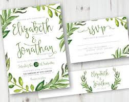 wedding invitations greenery leaf wedding invite etsy