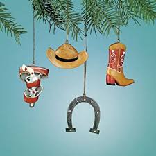 Cowboy Christmas Tree Decorations by Amazon Com Cowboy Christmas Tree Ornaments 4 Piece Set Home