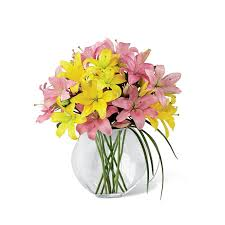 bouquet of lilies yellow lilies pink lilies orb at send flowers