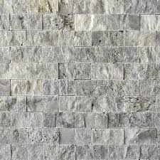Split Face Stone Backsplash by Silver Travertine Split Face Tile Qdisurfaces