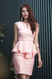 praline peplum dress in blush pink mgp