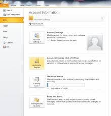 ms outlook set out of office message