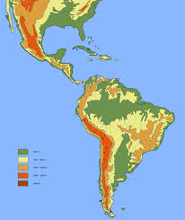 latin america elevation map america map