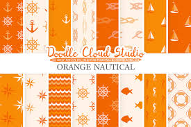 American Flag Doodle Orange Nautical Digital Paper Seal Pat Design Bundles