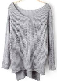 knitted sweater grey dip hem knit sweater abaday com
