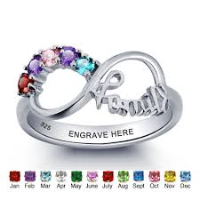 silver mothers ring sterling silver personalized family infinity 5 s ring