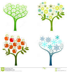 abstract tree graphic elements four seasons stock photos