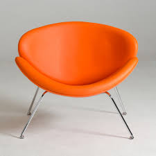 contemporary orange leatherette stainless steel legs chair detroit