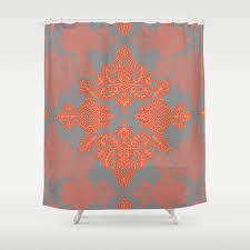 Shower Curtains Orange Burnt Orange Coral Grey Doodle Pattern Shower Curtain By
