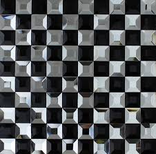 black and white mosaic bathroom floor tiles pyramid 3d glass