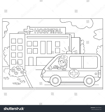 coloring page outline cartoon doctor ambulance stock vector