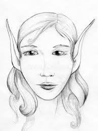 elf portrait pencil sketch stock illustration image 49135025