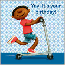 boy on scooter birthday card karenza paperie
