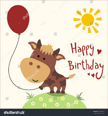 Cow Birthday Card Royalty Free Happy Birthday Card Funny Cow With 257000374 Stock