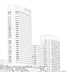 stock pictures sketch of the air india building and oberoi towers
