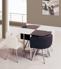rectangle dark brown wood space saving kitchen tables with double