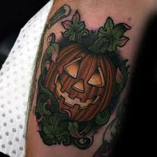 creative neo traditional jack o lantern male pumpkin tattoos