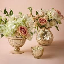 Footed Glass Vase Mercury Vases Gold Mercury Glass Vases U0026 Votives Faux
