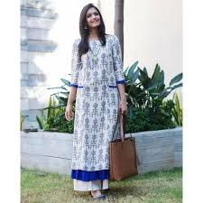 buy the secret label white and blue cotton printed layered kurti