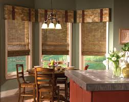 dining room with wooden blinds and valances different types of