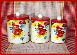 wonderful vintage 1950 u0027s 3 piece tin canister set by colorware nd