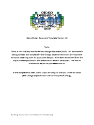 game design template cegd game design document template v 1 0 video game development