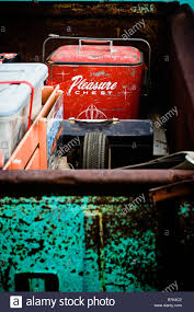 Old Ford Truck Beds - the bed of an old rusty ford pickup truck with a toolbox and