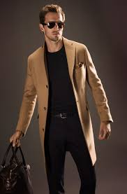 classic camel hair coat black tee and fitted jeans men s spring