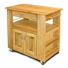 furniture maple butcher block cart with single drawer and double