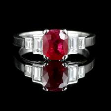 art deco ruby diamond ring 18ct white gold natural ruby ebay