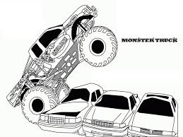 monster truck monster truck jumps over cars coloring page