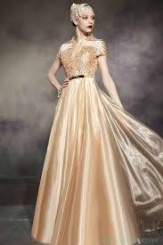 organza sequin short sleeves gold muslim wedding dress informal