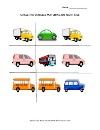 circle the matching picture worksheets vehicle