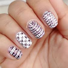 gorgeous black patterns with nail art pen on white nail art design