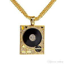 big necklace pendants images Wholesale original 18k gold dj phonograph big pendant necklace men jpg