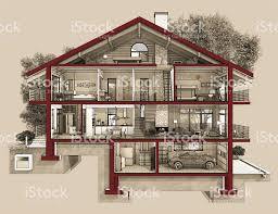 drawing of a house with garage 3d section of a country house stock photo 487814828 istock