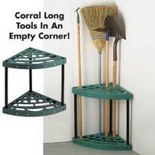 corner garage shed garden tool rack shovel broom rake holder