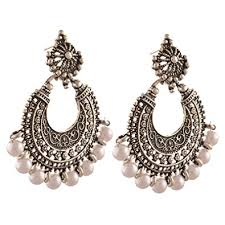 chandbali earrings buy zephyrr fashion german silver pierced dangle drop chandbali