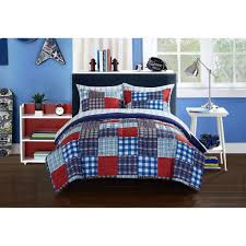 Mainstay Comforter Sets Red White Blue Boys Comforter Set Mainstays Kids Plaid Blue Patch