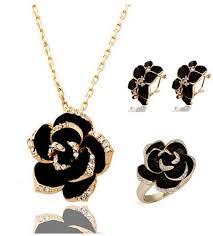 Black Rose Flower 18k Gold Plated Jewelry Set Black Rose Flower Necklace Earrings