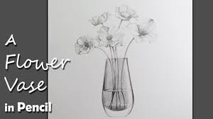 Draw A Flower Vase Drawing A Flower Vase In Pencil Youtube