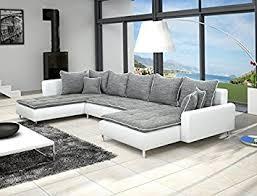 amazon canapé canapé d angle en u dante 6 places gris et blanc amazon fr