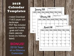 2018 calendar printable template pdf instant download
