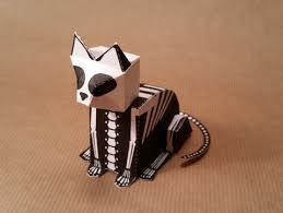 skeleton cat free paper toy download