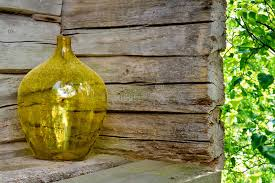 Yellow Glass Vase Yellow Glass Vase On A Wooden House Exterior Stock Photos Image