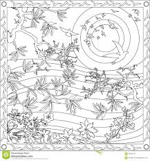 coloring page book for adults square format japanese style design
