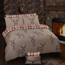 stag rein deer tartan check reversible themed design bedding duvet