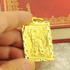gold pendant chain bracelet images Wholesale 18k solid gold pendant men 39 s loyalty guan gong guan er jpg