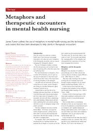 metaphors and therapeutic encounters in mental health nursing
