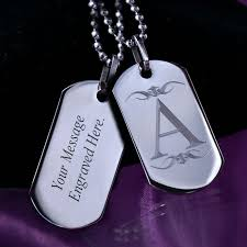 mens dog tags engraved personalised mens dogtags necklace with initial a maxshock